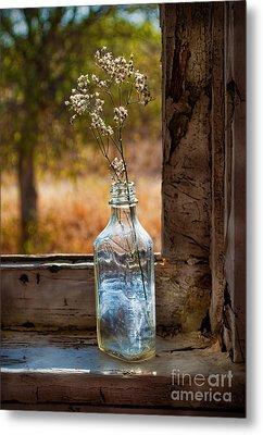 Bottle On Window Sill Metal Print