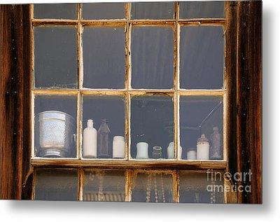 Bottles In The Window Metal Print by Vivian Christopher