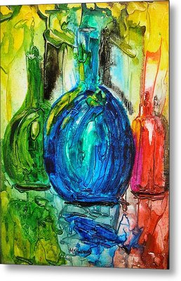Bottles Metal Print by Mary Kay Holladay