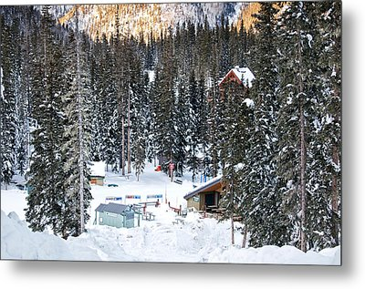 Bottom Of Ski Slope Metal Print by Lisa  Spencer