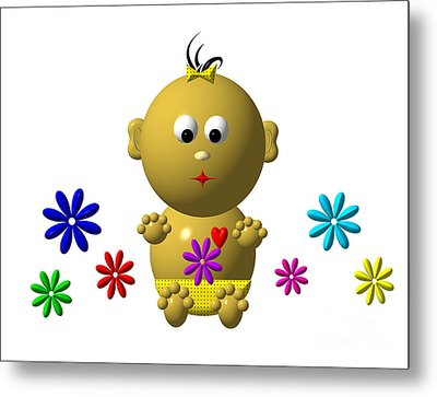 Bouncing Baby Girl With 7 Flowers Metal Print by Rose Santuci-Sofranko