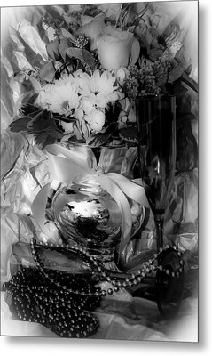 Bouquet And Beads Bw Metal Print by DigiArt Diaries by Vicky B Fuller