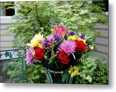 Bouquet Behind Her Bedroom Window  2 Metal Print by Tanya  Searcy