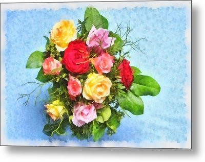 Bouquet Of Colorful Flowers - Digital Watercolor Painting Metal Print by Matthias Hauser