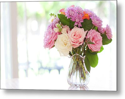 Bouquet Of Flowers On Table Near Window Metal Print by Jessica Holden Photography