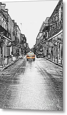 Bourbon St Taxi French Quarter New Orleans Color Splash Black And White Colored Pencil Digital Art Metal Print by Shawn O'Brien