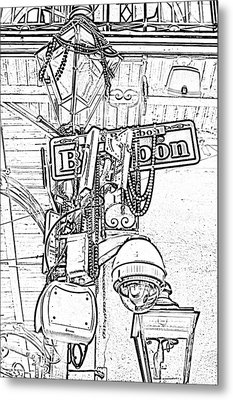 Bourbon Street Sign And Lamp Covered In Beads Black And White Photocopy Digital Art Metal Print by Shawn O'Brien