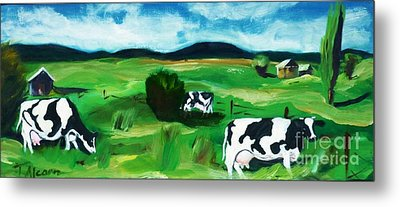 Metal Print featuring the painting Bovine Bliss by Therese Alcorn