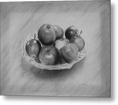 Metal Print featuring the drawing Bowl Of Apples by Lynn Hughes