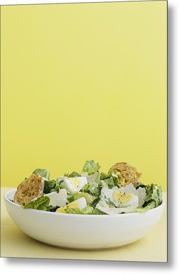 Bowl Of Caesar Salad With Egg Metal Print by Cultura/BRETT STEVENS