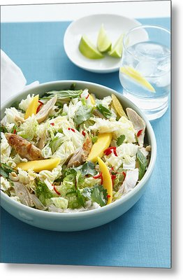Bowl Of Chicken And Mango Salad Metal Print by Cultura/BRETT STEVENS