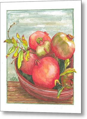 Metal Print featuring the painting Bowl Of Pomegranates by Terry Taylor