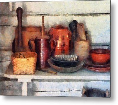 Bowls Basket And Wooden Spoons Metal Print by Susan Savad