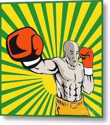 Boxer Boxing Jabbing Front Metal Print by Aloysius Patrimonio