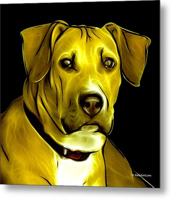 Boxer Pitbull Mix Pop Art - Yellow Metal Print by James Ahn