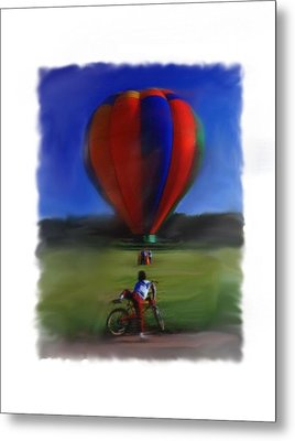 Boy  And Balloon Metal Print by Mary M Collins