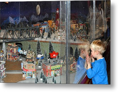 Boy And Christmas Trains Metal Print by Diane Lent