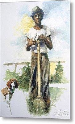 Boy And Dog Metal Print