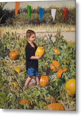 Boy At Pumpkin Festival Metal Print by Joanna Franke