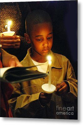 Boy By Candlelight Metal Print by Jim Wright