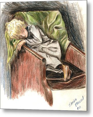 Metal Print featuring the drawing Boy In Chair by Sarah Farren