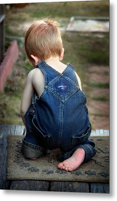 Metal Print featuring the photograph Boy In Overalls by Kelly Hazel