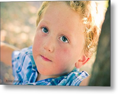 Boy In Tree Metal Print by Adam Gerdes