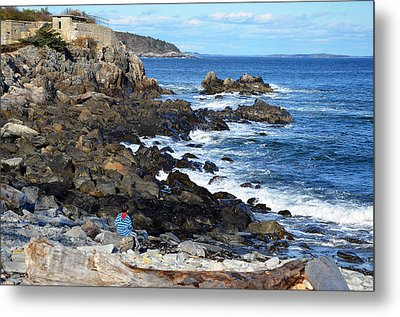 Metal Print featuring the photograph Boy On Shore Rocky Coast Of Maine by Maureen E Ritter