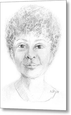 Boy Or Girl Woman Or Man African Or Asian Has Curly Hair Big Lips And A Big Head Metal Print by Rachel Hershkovitz