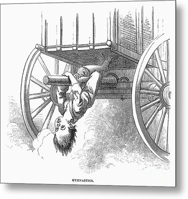 Boy Riding Under Wagon Metal Print by Granger