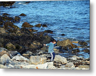 Metal Print featuring the photograph Boy Throwing A Stone Maine Coast by Maureen E Ritter