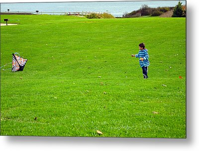 Metal Print featuring the photograph Boy With His Kite Maine by Maureen E Ritter