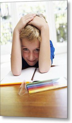 Boy With Pens And Exercise Book Metal Print by Ian Boddy