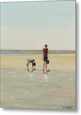Boys Clamming Metal Print by Anthony Ross
