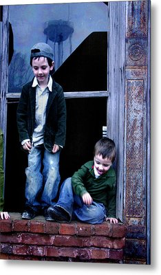 Metal Print featuring the photograph Boys In A Window by Kelly Hazel
