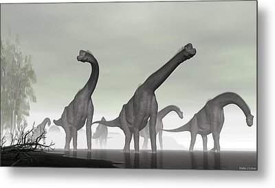 Metal Print featuring the digital art Brachiosaurus by Walter Colvin