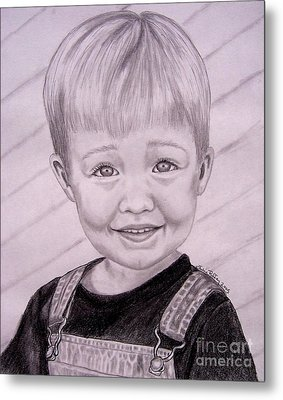 Metal Print featuring the drawing Brady by Julie Brugh Riffey