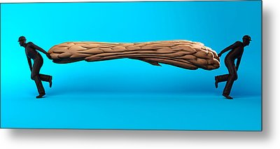 Brain Being Stretched In Two Directions Metal Print