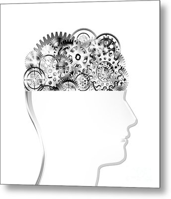 Brain Design By Cogs And Gears Metal Print by Setsiri Silapasuwanchai