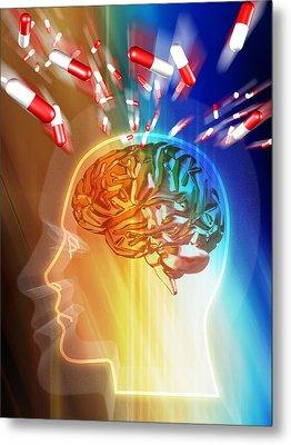 Brain Drug Metal Print by Pasieka