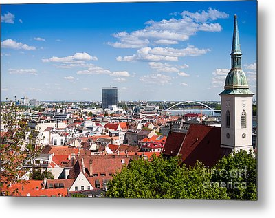 Metal Print featuring the photograph Bratislava Roofs by Les Palenik