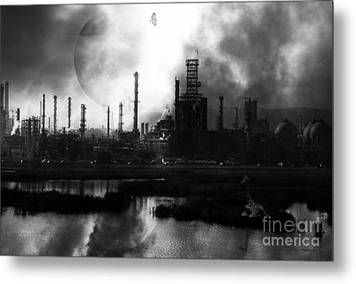 Brave New World - Version 2 - Black And White - 7d10358 Metal Print by Wingsdomain Art and Photography