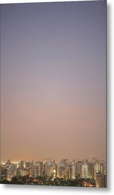 Brazil, Sao Paulo, Cityscape At Sunset, Elevated View Metal Print by Thomas Northcut