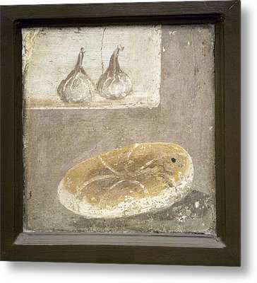 Bread And Figs, Roman Fresco Metal Print by Sheila Terry