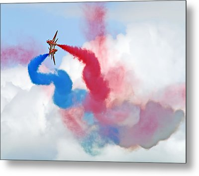 Break  Red Arrows - Dunsfold 2012 Metal Print by Colin J Williams Photography