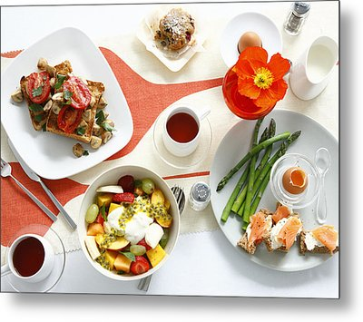 Breakfast Dishes On Table Metal Print by Cultura/BRETT STEVENS