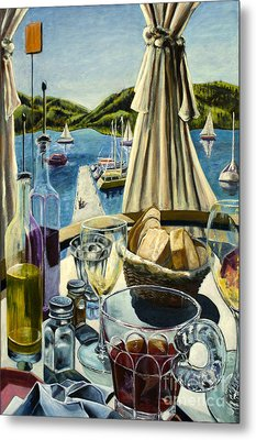 Metal Print featuring the painting Breakfast In Skradin by AnneKarin Glass