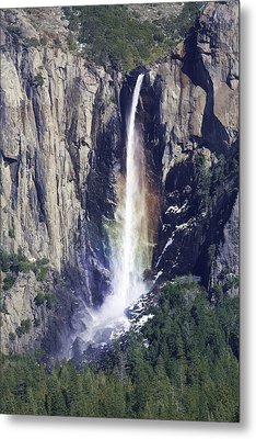 Bridal Veil Falls Rainbow In Yosemite Metal Print by Gregory Scott