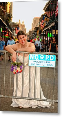 Bride And The Barricade On Bourbon Street Metal Print by Kathleen K Parker