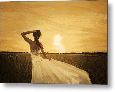 Bride In Yellow Field On Sunset  Metal Print by Setsiri Silapasuwanchai